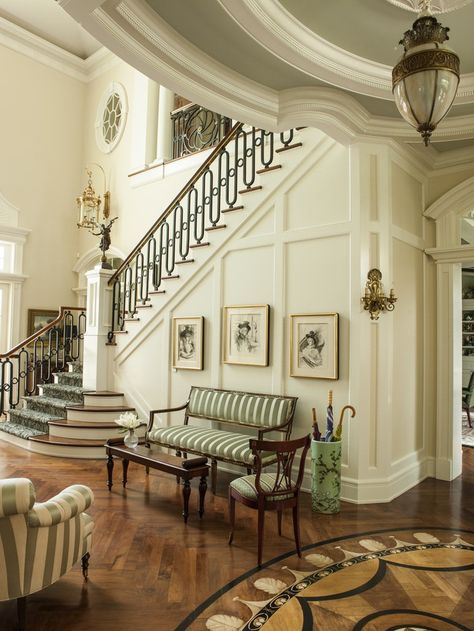 The front hall has walnut herringbone floors inlaid with handpainted marquetry Foyer Transitional Traditional by Taylor & Taylor Dream Home Design, My Dream Home, Home Interior Design, Interior Architecture, House Design, Mansion Interior, Appartement Design, Coastal Living Rooms, Aesthetic Rooms