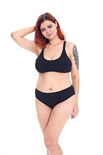 e28f5422ac9 SWIMANDTAN Plus Size High Waisted Bikini Set Black Sporty Crop ...