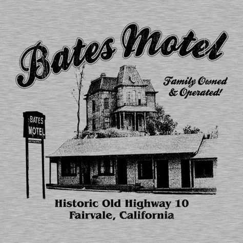 Bates Motel T-Shirt - Next time your in Fairvale California stay a night at the Bates Motel, just be careful for the knife wielding psychotic mamas boy. Halloween Movies, Halloween Horror, Scary Movies, Horror Movie Posters, Horror Films, Movie Shirts, Horror Movie T Shirts, Norman Bates, Bates Family