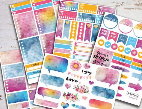 Erin Condren vertical, Planner stickers planner sticker kit Erin Condren planner stickers weekly sticker kit monthly stickers eclp rainbow