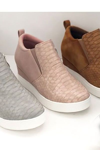 cd64d579ccf Snake Textured Wedge Sneakers-Blush Pink in 2019 | Shoes | Wedge ...