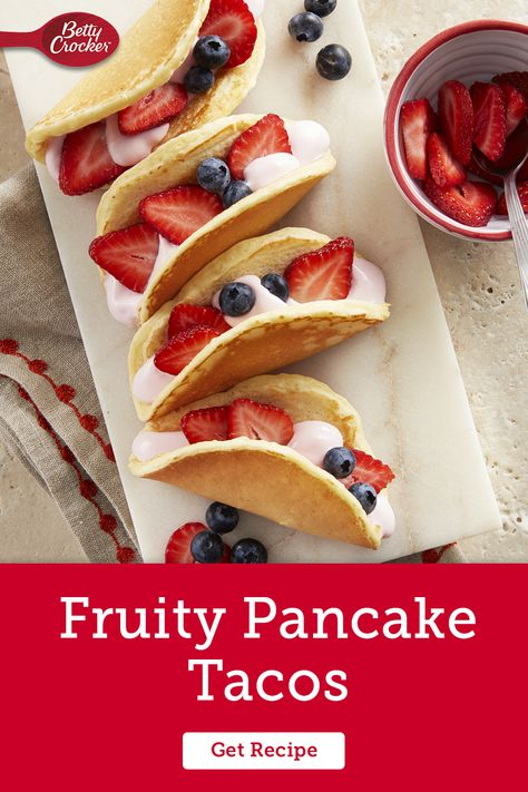 Your kids will love these Fruity Pancake Tacos with strawberries, blueberries and creamy vanilla Greek yogurt. Pin this recipe for fresh breakfast inspiration.