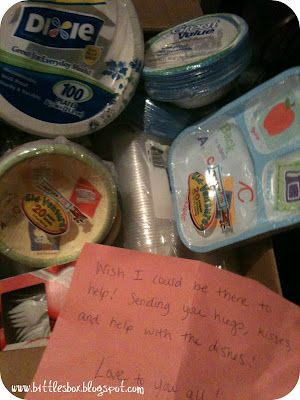 "Best long distance baby gift ever!  Mail a box full of paper plates, bowls, and plastic cups and forks, ""Wish I could be there to help! Sending you hugs, kisses and help with the dishes!"""