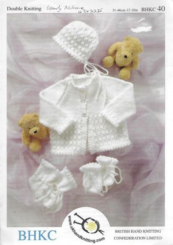 6739cd3bd4a0 Baby Picot Edge Matinee Jacket Bonnet Booties Mitts BHKC 40 knitting ...