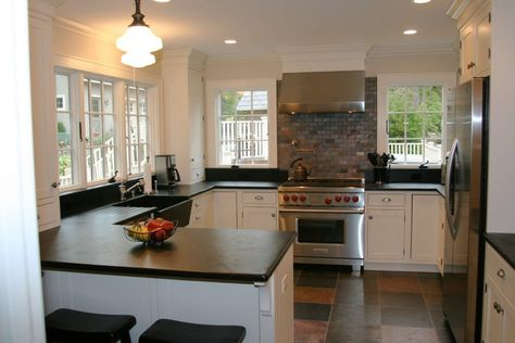 I Love The Soapstone Countertops And Schoolhouse Lighting The