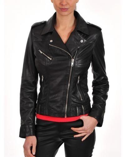 Ladies Black Bomber Biker Style Retro 100/% Real Leather Jacket