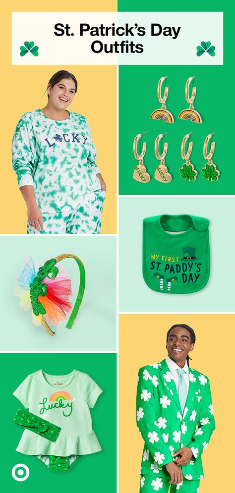 Add a touch of green to your St.Patrick's Day look with shamrock outfits, comfy pajamas, nail ideas  accessories for the whole family.