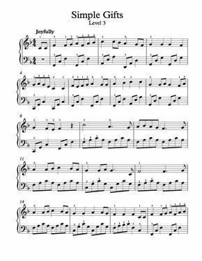 Free Piano Arrangement Sheet Music Simple Gifts Level 3 With