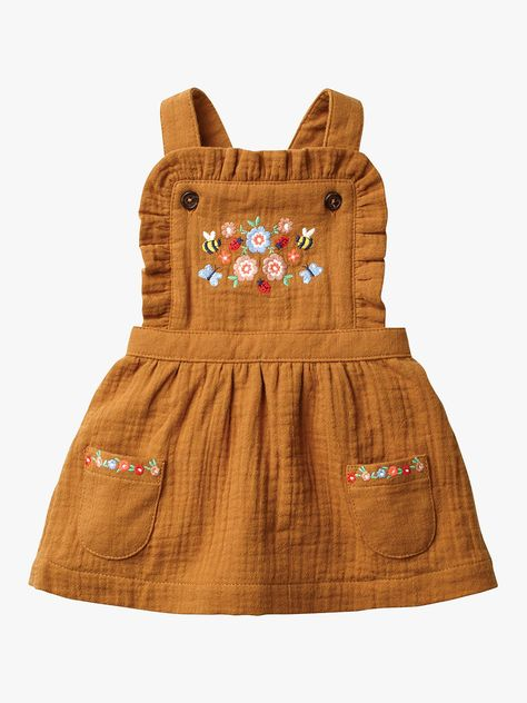 Floral Embroidered Pinafore - Butterscotch Brown Embroidery Source by ohjoy clothes Fashion Kids, Baby Girl Fashion, Toddler Fashion, Baby Girl Dresses, Baby Outfits, Baby Dress, Toddler Outfits, Baby Girl Clothing, Toddler Skirt