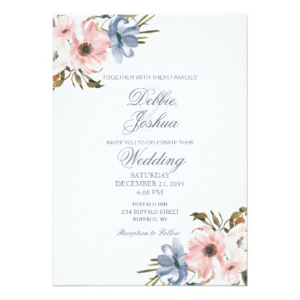 Pastel Blue Pink Purple Flower Wedding Invitation Zazzle Com