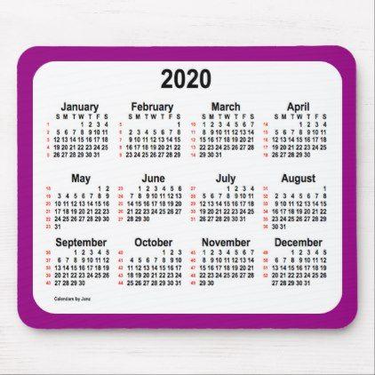2020 52 Weeks Calendar By Janz Purple Mouse Pad Calendars 2019 Personalized Calendar Custom Calendar Calendar Custom Mouse Pads