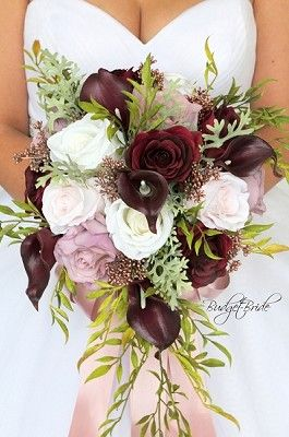 Cascading Burgundy And Mauve Wedding Flower Brides Bouquet With