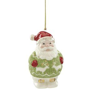 Add A Special Glow To Your Holiday Tree With This Christmas Sweater Santa Hanging Figurine Ornament Wearing A G Diy Holiday Decor Santa Ornaments Holiday Gems