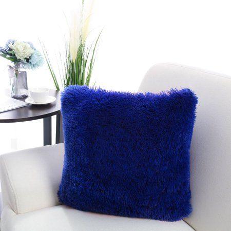 blue fluffy cushion cover