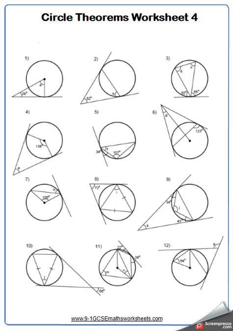 Tangents To Circles Maths Worksheet And Answers 9 1 Gcse Higher Grade 6 Year 10 Circle Theorems Circle Math Math Worksheet