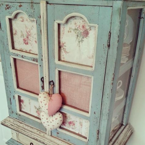 Blue & white painted cabinet ~ I Heart Shabby Chic Blog Heart Hashtag Tag for Valentine's Day 2015