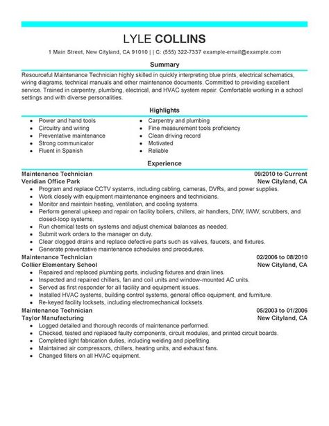 Pin by Job Description And Resumes Examples on Job Description - resume for maintenance technician