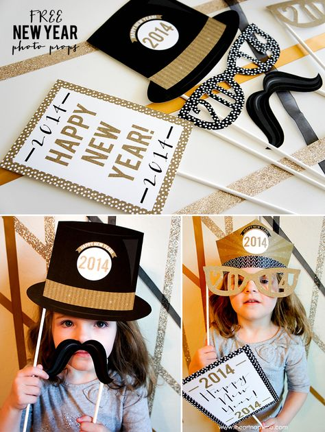 Free Printable New Year's Photo Props on iheartnaptime.com #photoprops #newyears #2014