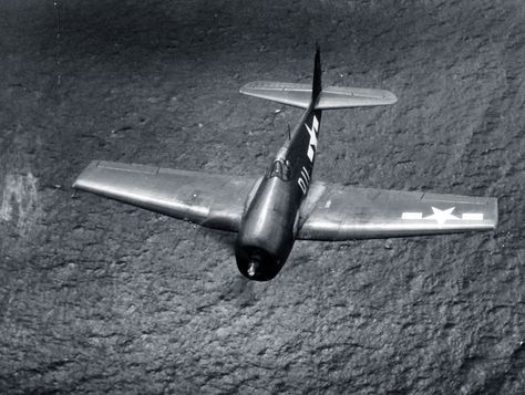 Grumman F6F-5 in flight from USS Suwannee (CVE 27). Photograph released April 27, 1945.  U.S. Navy photograph, now in the collections of the National Archives. ~ BFD
