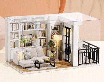 DIY Duplex Flat Apartment Kit modern design miniature furniture with LED lights Wooden Dollhouse Kit