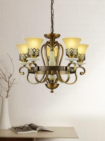 Chenille 6 Lamp Translucent Glass Glass Floor Chandelier