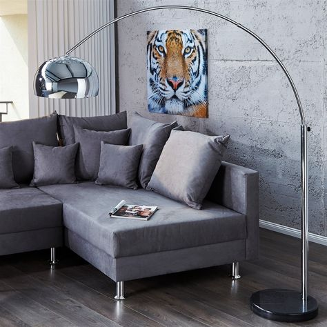 BIG BOW BOGENLEUCHTE CHROME RETRO DESIGN LAMPE ohne DIMMER von XTF24 Lounge Stehlampe silber