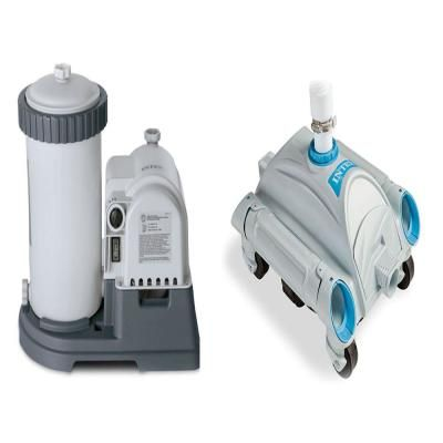 Intex 2500 Gph Filter Cartridge Pump With Timer And Above Ground Pool Vacuum 28633eg 28001e The Home Depot Above Ground Pool Vacuum Pool Vacuum Best Pool Vacuum