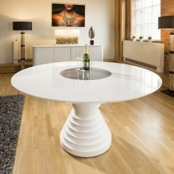 Stunning Large Round White Gloss Dining Table With Glass Insert Gual White Gloss Dining Table Dining Table Glass Dining Table