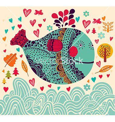 Decorative fish background vector