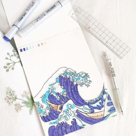 Im in love with this Hokusai inspired art page by @peachiestudys how special #notebooktherapy #hokusai #thegreatwave