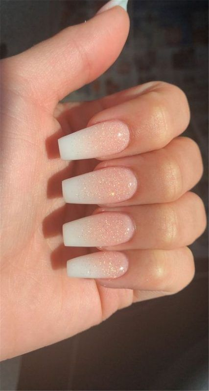 21 Ideas Nails French Fade Glitter Acrylics Best Acrylic Nails Ombre Acrylic Nails Pretty Acrylic Nails