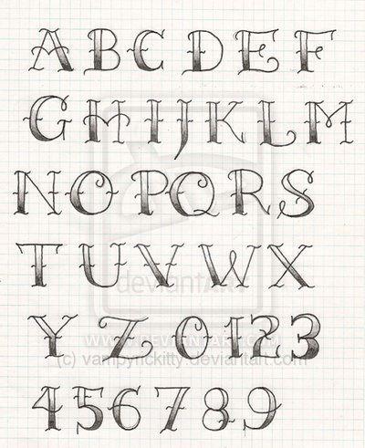 Kalligraphie Schriftart Vorlagen Schriften Alphabet Tattoo