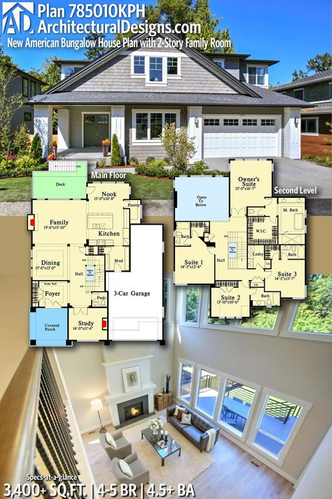 Plan 785010kph New American Bungalow House Plan With 2 Story Family Room Bungalow House Plans Bungalow Style House Plans House Blueprints