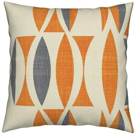Mid Century Modern Throw Pillow Field In Orange Gray By Chicca Besso Retro Square Catalan Orange Pillows Decorative Floral Throw Pillows Etsy Pillow Covers