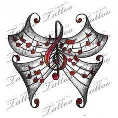 Marketplace Tattoo Small Treble Clef Musical Butterfly #9668 | CreateMyTattoo.com