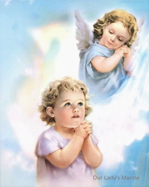 """""""Guardian Angel Print The artwork shows a heavenly guardian angel appearing very pleased as he watches his young ward praying. The picture is 8\"""" wide x 10\"""" tall and printed on cardstock with satin finish. The verso is plain except for the manufacturer's logo, serial number and bar code. The picture was created and produced in Milan, Italy by a religious art company renowned for serving Italian churches and religious institutes. The artwork will be a nice addition to your collection of devotion"""