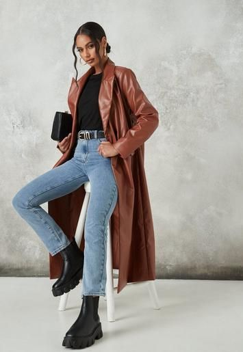 Tan Faux Leather Formal Jacket