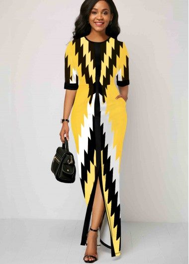 Women'S Yellow Geometric Print Half Sleeve Maxi Spring Dress Round Neck Elegant Cocktail Party Dress By Rosewe Round Neck Geometric Print Half Sleeve