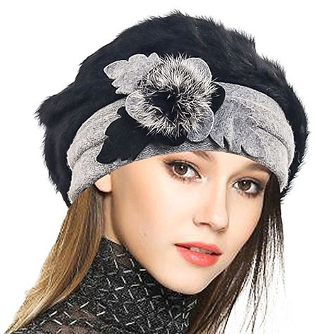 6d1d373862348 VECRY Lady French Beret 100% Wool Beret Floral Dress Beanie Winter Hat  (Angola-Black)