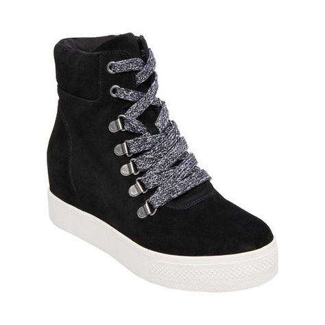 5c3010c2bbc Pulley Faux-Fur Wedge Sneakers | Products | Wedge sneakers, Shoes ...