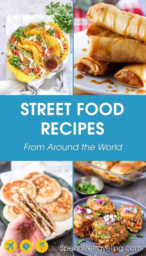 35 delicious and easy street food recipes from all over the world. From deep fried comfort food to healthy vegan options and delicious desserts. Japanese Street Food, Thai Street Food, Best Street Food, Indian Street Food, World Street Food, Vietnamese Street Food, Vegetarian Recipes, Cooking Recipes, Quick Food Recipes