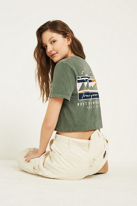 24e8ae06 UO Find Your Way Green Embroidered Cropped T-Shirt | KYLYPSO ...