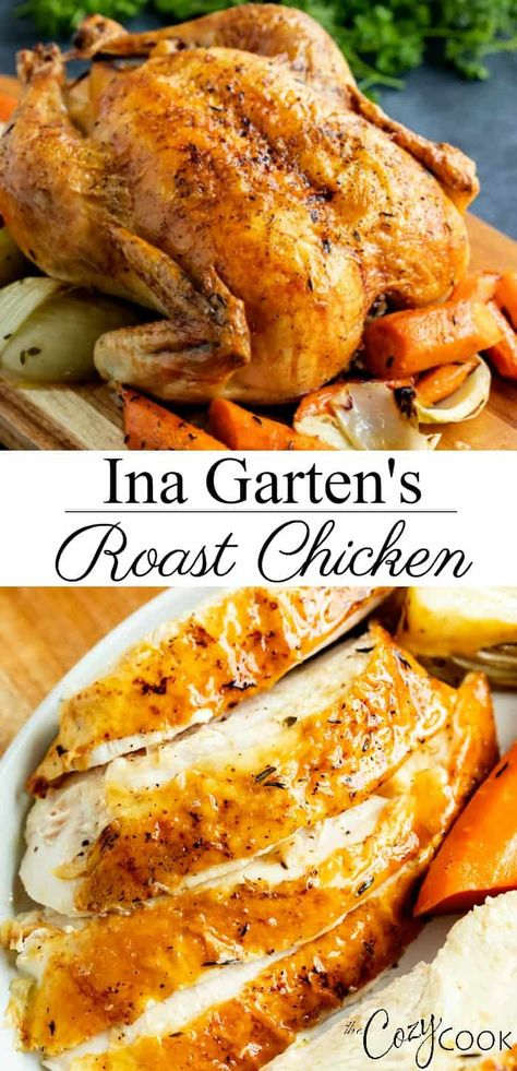 Ina Garten's Roast Chicken - Kochen - Ina Garten's Roast Chicken recipe is so easy to make in the oven and takes all of the guess work out of cooking! You'll get crispy skin and extra juicy chicken every time with plenty of thick, delicious gravy. Whole Chicken In Oven, Whole Chicken Recipes Oven, Perfect Roast Chicken, Roast Chicken Recipes, Stuffed Whole Chicken, Cooking Whole Chicken, Roast Chicken Marinade, Best Whole Chicken Recipe, Roast Chicken Dinner