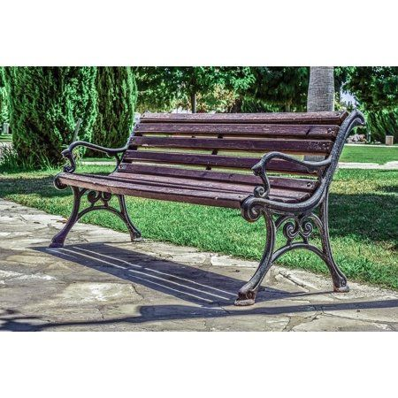 Framed Art For Your Wall Vintage Empty Elegant Outdoor Bench Park 10x13 Frame Walmart Com Outdoor Bench Outdoor Bench