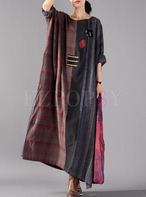 Dresses | Maxi Dresses | Retro Color-blocked Embroidered Plaid Maxi Dress With Split
