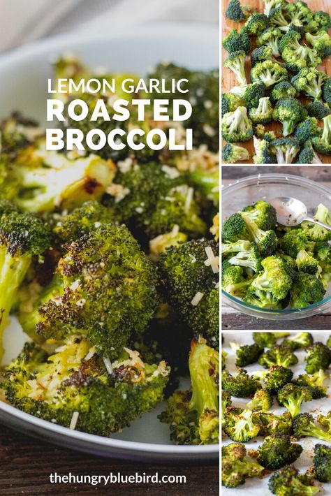 The best oven roasted broccoli tossed in olive oil with garlic, lemon and parmesan cheese. Super easy, just roast until charred and fork tender. #thehungrybluebird #roastedbroccoli #ovenroasted #broccoli #easyrecipe #vegetablesidedish #sidedish #comfortfood