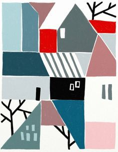 More houses made up of simple shapes and colours Ophelia Pang: habitat