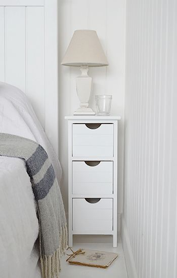 Dorset Max 25cm Narrow White Bedside Table The White Lighthouse Slim Bedroom Furniture In 2020 White Bedside Table Bedroom Bedside Table Narrow White Bedside Table