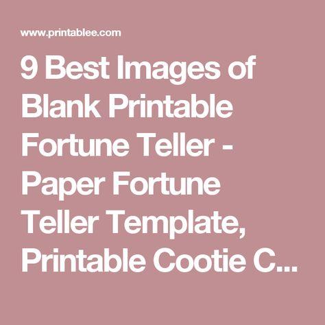 Blank Printable Fortune Teller cooltestinfo