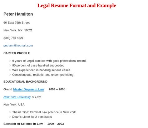 Sample Legal Resume Format Read more @    wwwresumeformatorg - html resume format